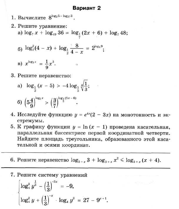 Рабочая программа по алгебре и началам анализа классы стр  Контрольная работа №6 по теме Первообразная и интеграл